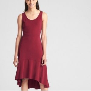 NIP GAP Peplum Hem Sleeveless Midi Dress In Point